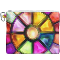 Glass Colorful Stained Glass Canvas Cosmetic Bag (xxxl) by Sapixe