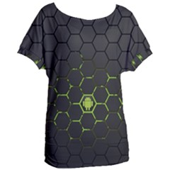Green Android Honeycomb Gree Women s Oversized Tee