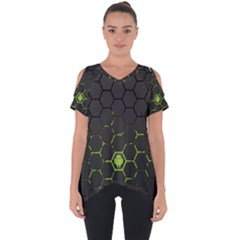 Green Android Honeycomb Gree Cut Out Side Drop Tee