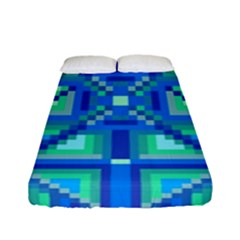 Grid Geometric Pattern Colorful Fitted Sheet (full/ Double Size) by Sapixe
