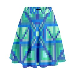 Grid Geometric Pattern Colorful High Waist Skirt by Sapixe