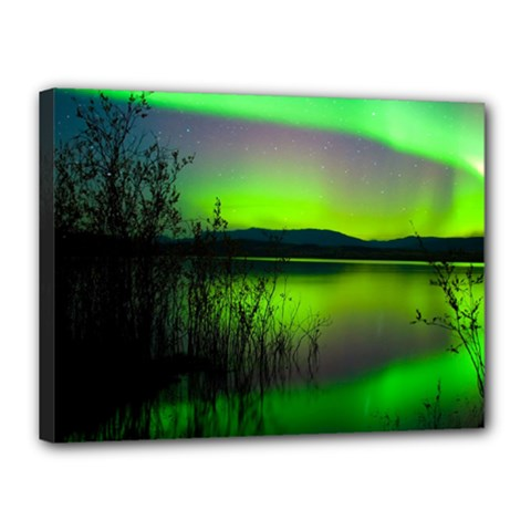 Green Northern Lights Canada Canvas 16  X 12