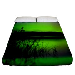 Green Northern Lights Canada Fitted Sheet (king Size) by Sapixe