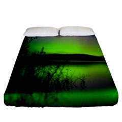 Green Northern Lights Canada Fitted Sheet (california King Size) by Sapixe