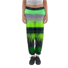 Green Northern Lights Canada Women s Jogger Sweatpants by Sapixe