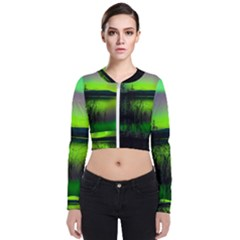 Green Northern Lights Canada Bomber Jacket by Sapixe
