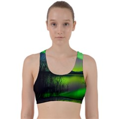 Green Northern Lights Canada Back Weave Sports Bra by Sapixe