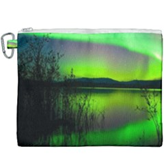 Green Northern Lights Canada Canvas Cosmetic Bag (xxxl) by Sapixe