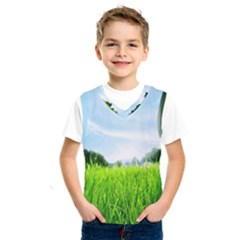 Green Landscape, Green Grass Close Up Blue Sky And White Clouds Kids  Sportswear