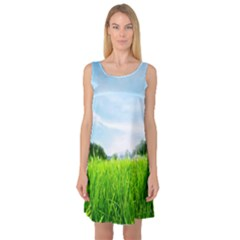 Green Landscape, Green Grass Close Up Blue Sky And White Clouds Sleeveless Satin Nightdress