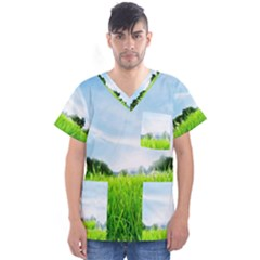 Green Landscape, Green Grass Close Up Blue Sky And White Clouds Men s V Neck Scrub Top