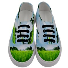 Green Landscape, Green Grass Close Up Blue Sky And White Clouds Men s Classic Low Top Sneakers