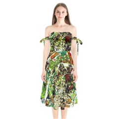 April   Birds Of Paradise 5 Shoulder Tie Bardot Midi Dress by bestdesignintheworld