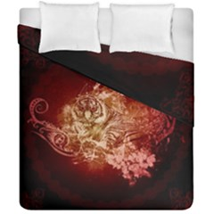 Wonderful Tiger With Flowers And Grunge Duvet Cover Double Side (california King Size) by FantasyWorld7