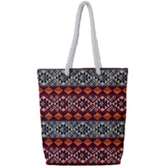 Mayan Symbols Pattern  Full Print Rope Handle Tote (small) by Cveti