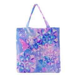 Flower Of Life Pattern Painting Blue Grocery Tote Bag by Cveti