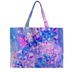 Flower Of Life Pattern Painting Blue Zipper Mini Tote Bag by Cveti