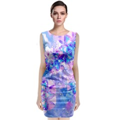 Flower Of Life Pattern Painting Blue Classic Sleeveless Midi Dress