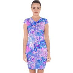 Flower Of Life Pattern Painting Blue Capsleeve Drawstring Dress