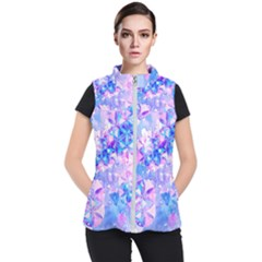 Flower Of Life Pattern Painting Blue Women s Puffer Vest by Cveti