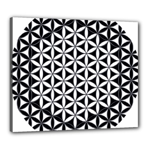 Flower Of Life Hexagon Cube 4 Canvas 24  X 20  by Cveti