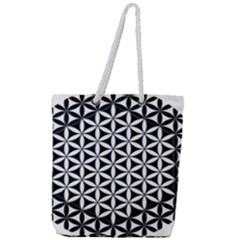 Flower Of Life Hexagon Cube 4 Full Print Rope Handle Tote (large) by Cveti
