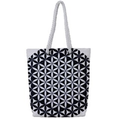 Flower Of Life Hexagon Cube 4 Full Print Rope Handle Tote (small) by Cveti