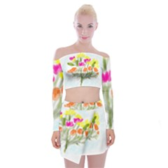 Easter Posey Off Shoulder Top With Mini Skirt Set