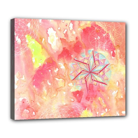 Flower-of-life Pattern Pink Deluxe Canvas 24  X 20   by Cveti