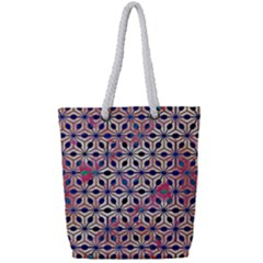 Asterisk Pattern Sacred Geometry 2 Full Print Rope Handle Tote (small) by Cveti