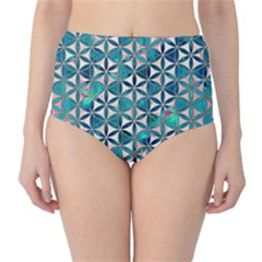 Flower Of Life, Paint, Turquoise, Pattern, High Waist Bikini Bottoms by Cveti