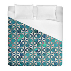 Flower Of Life, Paint, Turquoise, Pattern, Duvet Cover (full/ Double Size) by Cveti