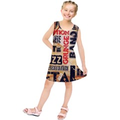 Guitar Typography Kids  Tunic Dress by Sapixe
