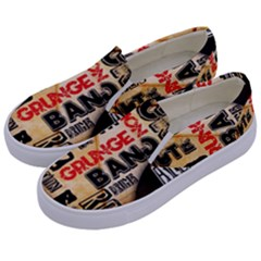 Guitar Typography Kids  Canvas Slip Ons by Sapixe