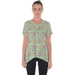 Hamster Pattern Cut Out Side Drop Tee by Sapixe