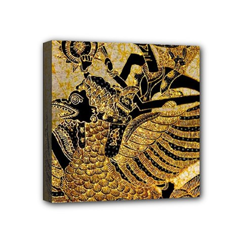 Golden Colorful The Beautiful Of Art Indonesian Batik Pattern Mini Canvas 4  X 4  by Sapixe