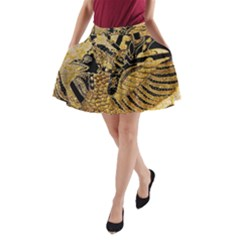 Golden Colorful The Beautiful Of Art Indonesian Batik Pattern A Line Pocket Skirt by Sapixe