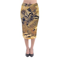 Golden Colorful The Beautiful Of Art Indonesian Batik Pattern Velvet Midi Pencil Skirt by Sapixe