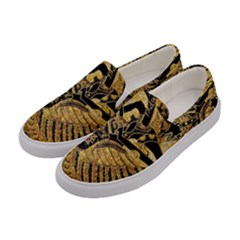 Golden Colorful The Beautiful Of Art Indonesian Batik Pattern Women s Canvas Slip Ons by Sapixe