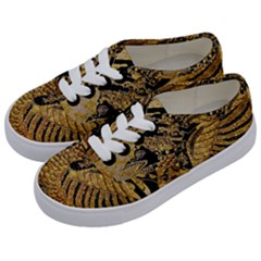 Golden Colorful The Beautiful Of Art Indonesian Batik Pattern Kids  Classic Low Top Sneakers by Sapixe