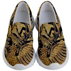 Golden Colorful The Beautiful Of Art Indonesian Batik Pattern Kid s Lightweight Slip Ons by Sapixe