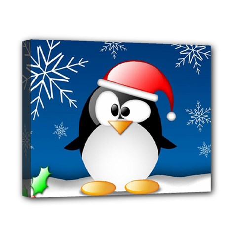 Happy Holidays Christmas Card With Penguin Canvas 10  X 8  by Sapixe