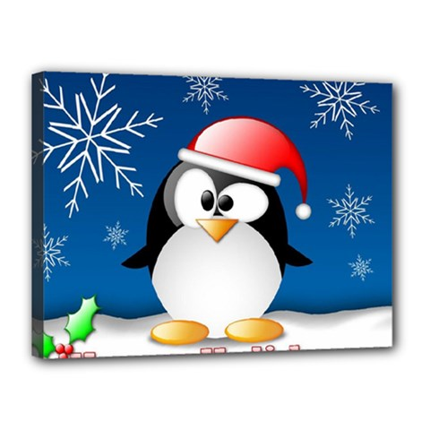 Happy Holidays Christmas Card With Penguin Canvas 16  X 12  by Sapixe
