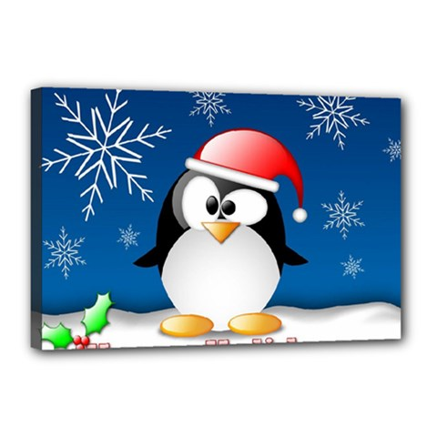 Happy Holidays Christmas Card With Penguin Canvas 18  X 12