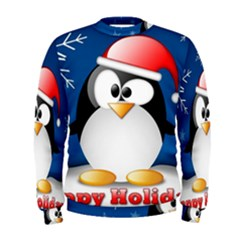 Happy Holidays Christmas Card With Penguin Men s Sweatshirt