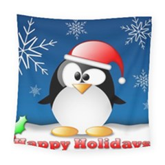 Happy Holidays Christmas Card With Penguin Square Tapestry (large)