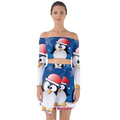 Happy Holidays Christmas Card With Penguin Off Shoulder Top With Skirt Set