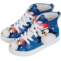 Happy Holidays Christmas Card With Penguin Kid s Hi-top Skate Sneakers by Sapixe
