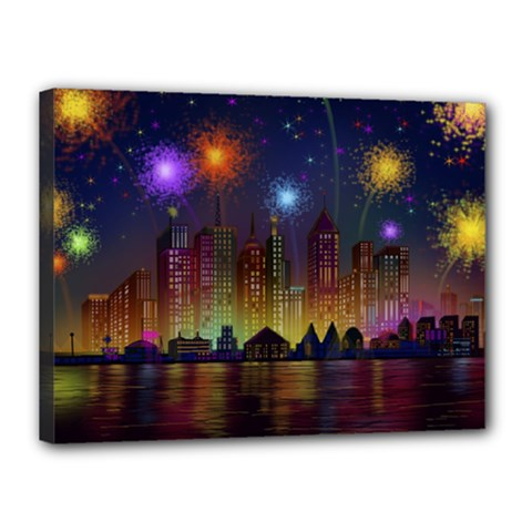 Happy Birthday Independence Day Celebration In New York City Night Fireworks Us Canvas 16  X 12  by Sapixe