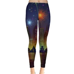 Happy Birthday Independence Day Celebration In New York City Night Fireworks Us Leggings  by Sapixe